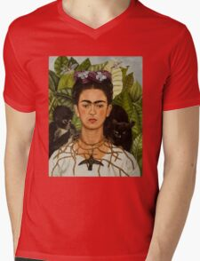 Self-Portrait with Thorn Necklace and Hummingbird  by Frida Kahlo Mens V-Neck T-Shirt