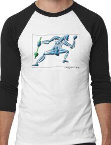 Dance Warrior III  FIST and SPEAR in Blue Men's Baseball ¾ T-Shirt