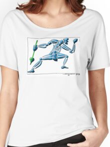 Dance Warrior III  FIST and SPEAR in Blue Women's Relaxed Fit T-Shirt