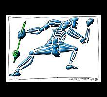 Dance Warrior III  FIST and SPEAR in Blue by JimmyGlenn Greenway