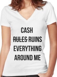 Cash Ruins Women's Fitted V-Neck T-Shirt