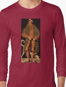 Lucas Cranach The Elder - Duke Henry The Pious 1514. Man portrait: strong man, man, male, beautiful costume, HEADDRESS, masculine, dog, macho, manly, sexy men,  Henry Long Sleeve T-Shirt