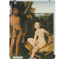 Lucas Cranach The Elder - Landscape With Apollo And Diana 1530. Lovers portrait: adam, woman and man, Eden, DEER, paradise, lovely couple, family, valentine's day, sexy, romance, nude iPad Case/Skin