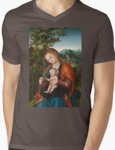Lucas Cranach The Elder - Madonna And Child In A Landscape 1518. Mother with kid portrait: madonna, Madonna And Child, female, pretty angel, child, Eden, tree, mothers day, memory, mom mum mam, baby Mens V-Neck T-Shirt