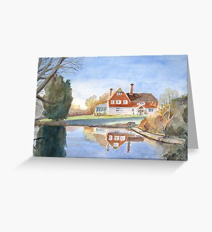 House and pond by Nick Clark Greeting Card