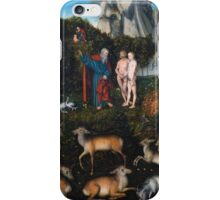 Lucas Cranach The Elder - The Garden Of Eden 1530. People portrait: adam and eve, woman and man, people, eve adam , garden of eden, nude, elder, APPLE, tree, valentine's day, temptation iPhone Case/Skin