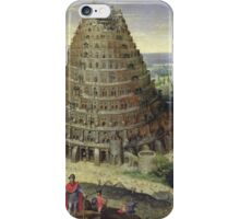Lucas van Valckenborch - The Tower Of Babel. building landscape: city view, spiral, tower, tower of babel,  babel,  mythology, architecture, construction, gardens, panorama garden, buildings iPhone Case/Skin