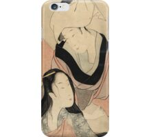 Kitagawa Utamaro - Hanging Laundry To Dry. Woman  portrait: party, geisha, female style, pretty women, beautiful dress,  eastern, headdress, romance, love, sexy lady, sensual woman iPhone Case/Skin
