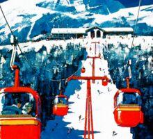 Vintage winter wonderland gondola winter sport snow ski Sticker