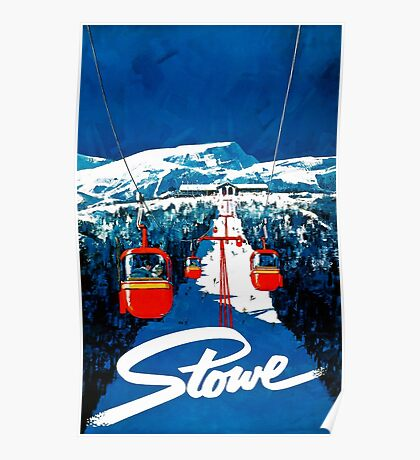 Vintage winter wonderland gondola winter sport snow ski Poster