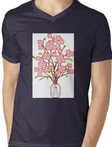 Pixelated Blossom Tree Mens V-Neck T-Shirt
