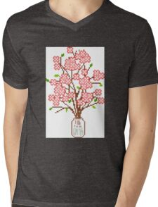 Pixelated Blossom Tree Mens V-Neck T-Shirt