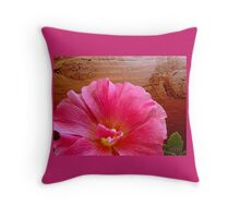 Pink Flowers and Old Timbers Throw Pillow