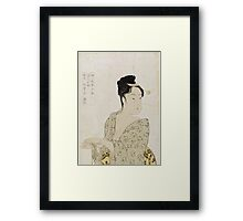 Kitagawa Utamaro - Ten Physiognomic Types Of Women. Woman portrait: sensual woman, geisha, female style, pretty women, femine,  eastern, beautiful dress, headdress, silk, sexy lady,  mirror Framed Print
