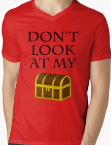 Don't look at my chest Mens V-Neck T-Shirt