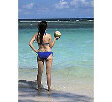 Life is A Beach - Red Stripe Beach Jamaica  Photographic Print