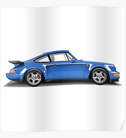 Porsche 911 Turbo (965) (blue) Poster