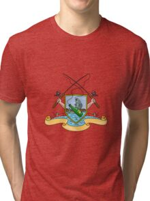 Fishing Rod Reel Hooking Fish Beer Bottle Coat of Arms Drawing Tri-blend T-Shirt