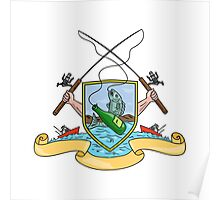 Fishing Rod Reel Hooking Fish Beer Bottle Coat of Arms Drawing Poster