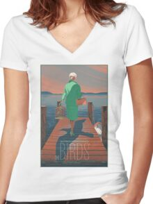The Birds Hitchcock movie film Women's Fitted V-Neck T-Shirt
