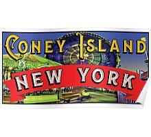 CONEY ISLAND NEW YORK WONDER WHEEL  AMUSEMENT PARKS NY FERRIS WHEEL Poster
