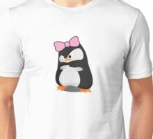 Angry Girly Cute Penguin with Pink Bow Unisex T-Shirt