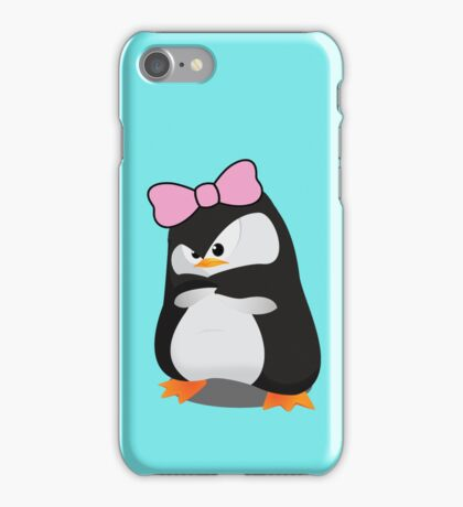 Angry Girly Cute Penguin with Pink Bow iPhone Case/Skin