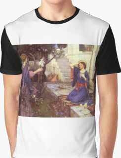 John William Waterhouse - The Annunciation. Woman portrait: sensual woman, girly art, female style, pretty women, femine, beautiful dress, cute,  love Graphic T-Shirt