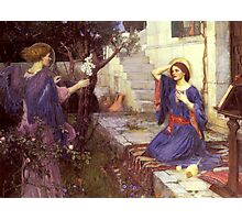 John William Waterhouse - The Annunciation. Woman portrait: sensual woman, girly art, female style, pretty women, femine, beautiful dress, cute,  love Photographic Print