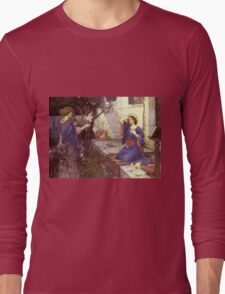 John William Waterhouse - The Annunciation. Woman portrait: sensual woman, girly art, female style, pretty women, femine, beautiful dress, cute,  love Long Sleeve T-Shirt