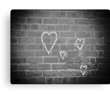 Hearts On Wall Canvas Print