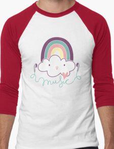 I Love Music Doodle Men's Baseball ¾ T-Shirt