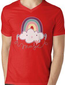 I Love Music Doodle Mens V-Neck T-Shirt