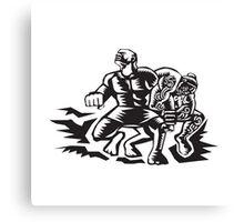 Tiitii Wrestling God of Earthquake Woodcut Canvas Print