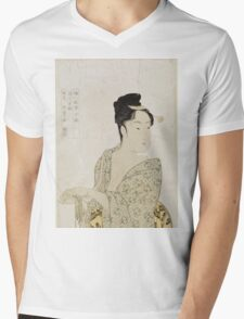 Kitagawa Utamaro - Ten Physiognomic Types Of Women. Woman portrait: sensual woman, geisha, female style, pretty women, femine,  eastern, beautiful dress, headdress, silk, sexy lady,  mirror Mens V-Neck T-Shirt