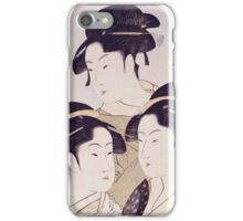 Kitagawa Utamaro - Three Beauties Of The Present Day. Woman portrait: sensual woman, geisha, female style, pretty women, femine,  eastern, beautiful dress, headdress, silk, sexy lady,  mirror iPhone Case/Skin