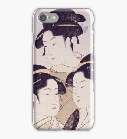 Kitagawa Utamaro - Three Beauties Of The Present Day. Woman portrait: sensual woman, geisha, female style, pretty women, femine,  eastern, beautiful dress, headdress, silk, sexy lady,  mirror iPhone Case/Skin