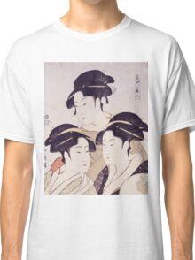 Kitagawa Utamaro - Three Beauties Of The Present Day. Woman portrait: sensual woman, geisha, female style, pretty women, femine,  eastern, beautiful dress, headdress, silk, sexy lady,  mirror Classic T-Shirt