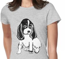 Black and White Cocker Spaniel Art Womens Fitted T-Shirt