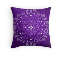 Mandala Purple and White Throw Pillow