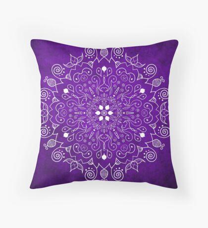 Mandala Purple and White Throw Pillow