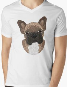 Brown Frenchie Puppy 001 Mens V-Neck T-Shirt