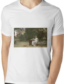 Marcus  Stone - Love At First Sight . Lovers portrait: lovers couple, woman and man, flirtation, garden, love relations, lovely couple, amorous, valentine's day, flowers, romance,  costume Mens V-Neck T-Shirt