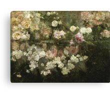 Maria Oakey Dewing - Garden In May. Still life with flowers: flowers, blossom, peony, Rose, floral flora, wonderful flower, plants, cute plant for kitchen interior, garden, pink Canvas Print