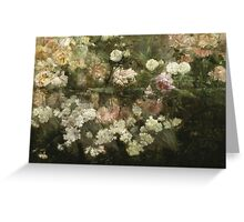 Maria Oakey Dewing - Garden In May. Still life with flowers: flowers, blossom, peony, Rose, floral flora, wonderful flower, plants, cute plant for kitchen interior, garden, pink Greeting Card