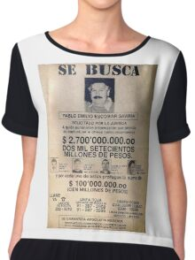 Pablo Escobar wanted poster Chiffon Top