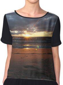 Beach sunset at night Chiffon Top