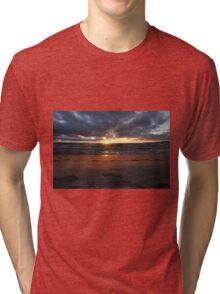Beach sunset at night Tri-blend T-Shirt