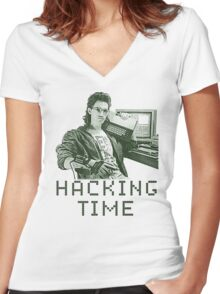 Hacking time Women's Fitted V-Neck T-Shirt