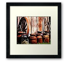 Milk Cans By The Shed Framed Print